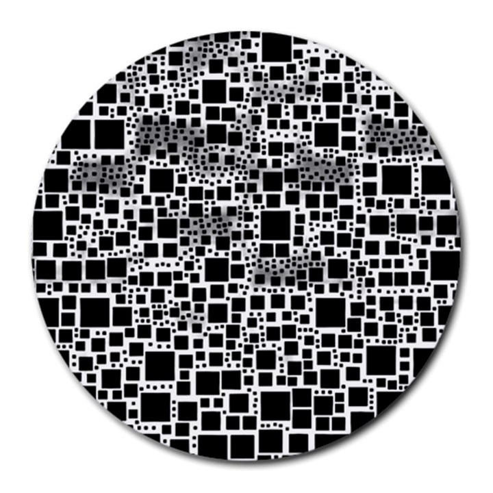Block On Block, B&w Round Mousepads