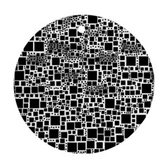 Block On Block, B&w Ornament (round)