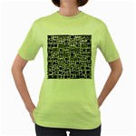 Block On Block, B&w Women s Green T-Shirt Front