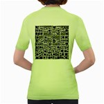Block On Block, B&w Women s Green T-Shirt Back