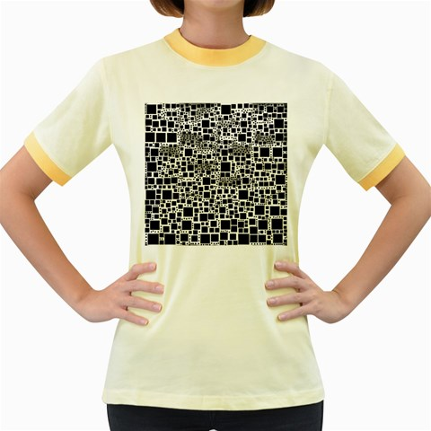 Block On Block, B&w Women s Fitted Ringer T-Shirts