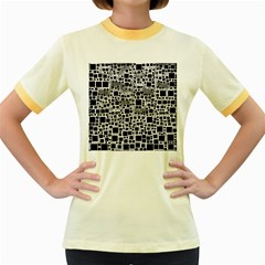 Block On Block, B&w Women s Fitted Ringer T Shirts