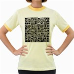 Block On Block, B&w Women s Fitted Ringer T-Shirts Front