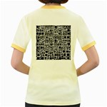 Block On Block, B&w Women s Fitted Ringer T-Shirts Back
