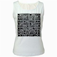 Block On Block, B&w Women s White Tank Top