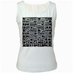 Block On Block, B&w Women s White Tank Top Front