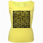 Block On Block, B&w Women s Yellow Tank Top Front