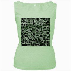 Block On Block, B&w Women s Green Tank Top
