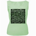 Block On Block, B&w Women s Green Tank Top Front