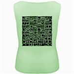 Block On Block, B&w Women s Green Tank Top Back