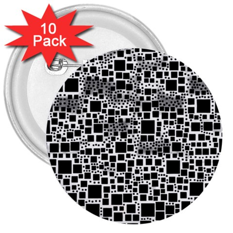 Block On Block, B&w 3  Buttons (10 pack)