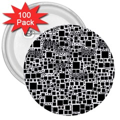 Block On Block, B&w 3  Buttons (100 pack)