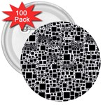 Block On Block, B&w 3  Buttons (100 pack)  Front