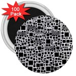 Block On Block, B&w 3  Magnets (100 pack) Front