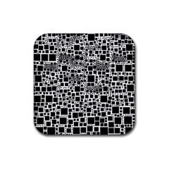 Block On Block, B&w Rubber Coaster (square)