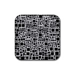 Block On Block, B&w Rubber Coaster (Square)  Front