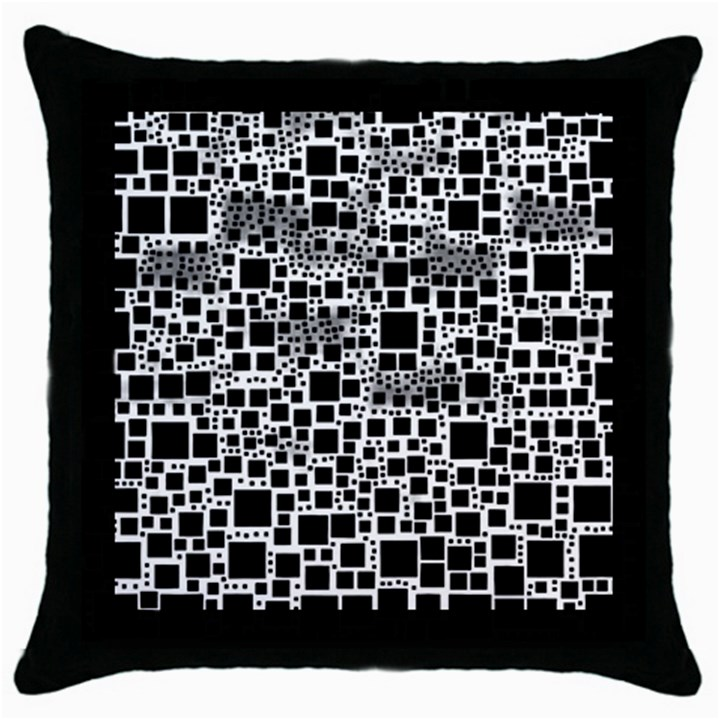 Block On Block, B&w Throw Pillow Case (Black)