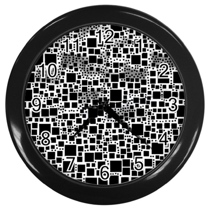 Block On Block, B&w Wall Clocks (Black)