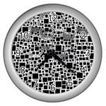 Block On Block, B&w Wall Clocks (Silver)  Front
