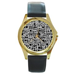Block On Block, B&w Round Gold Metal Watch
