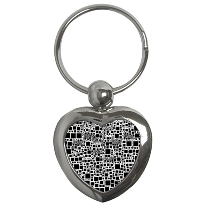 Block On Block, B&w Key Chains (Heart)