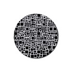 Block On Block, B&w Rubber Coaster (Round)  Front