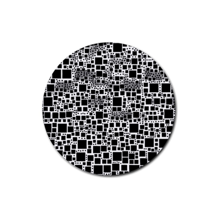 Block On Block, B&w Rubber Coaster (Round)