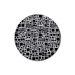 Block On Block, B&w Rubber Round Coaster (4 pack)