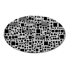 Block On Block, B&w Oval Magnet
