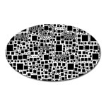 Block On Block, B&w Oval Magnet Front