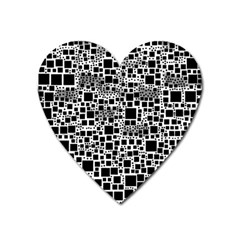 Block On Block, B&w Heart Magnet