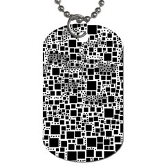 Block On Block, B&w Dog Tag (One Side)