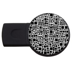 Block On Block, B&w Usb Flash Drive Round (2 Gb)