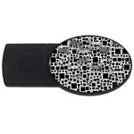 Block On Block, B&w USB Flash Drive Oval (2 GB)  Front