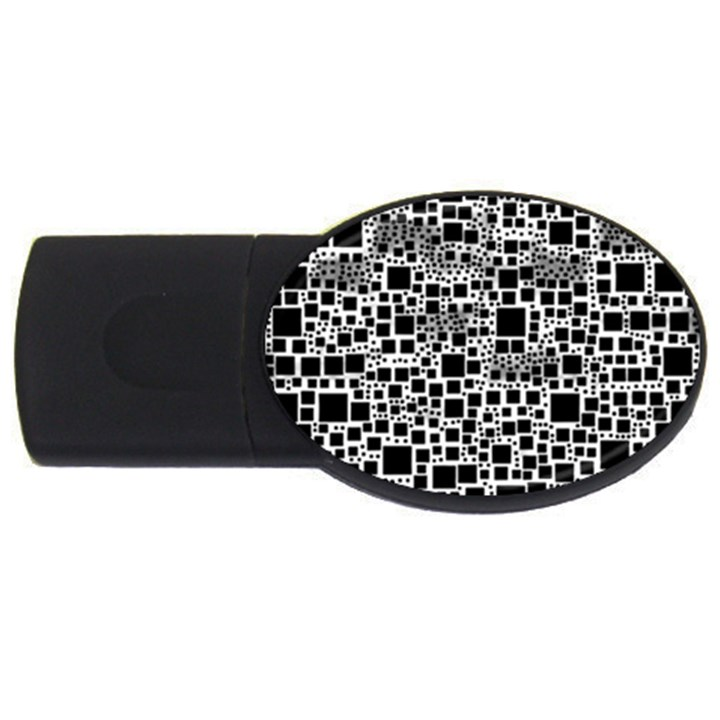 Block On Block, B&w USB Flash Drive Oval (2 GB)