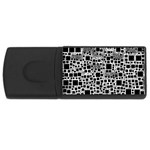 Block On Block, B&w USB Flash Drive Rectangular (1 GB)  Front