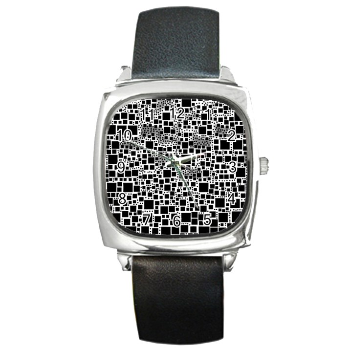 Block On Block, B&w Square Metal Watch