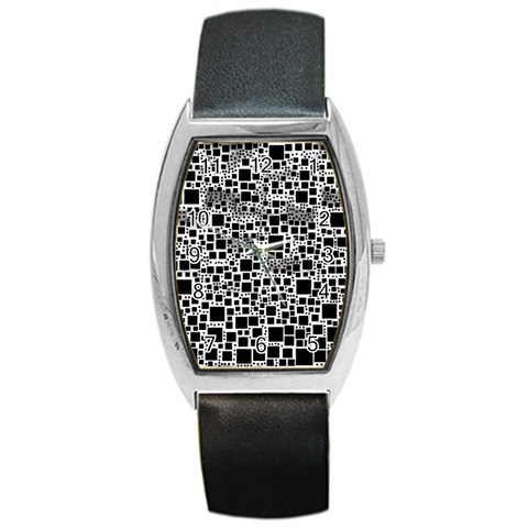 Block On Block, B&w Barrel Style Metal Watch