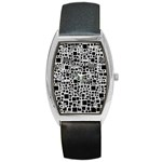 Block On Block, B&w Barrel Style Metal Watch Front