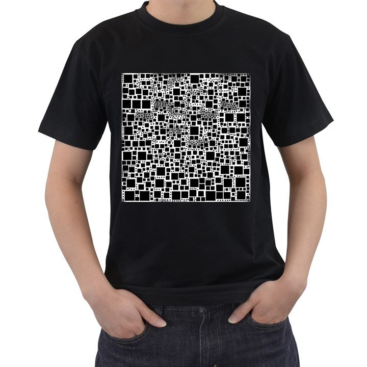 Block On Block, B&w Men s T-Shirt (Black) (Two Sided)