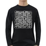 Block On Block, B&w Long Sleeve Dark T-Shirts Front