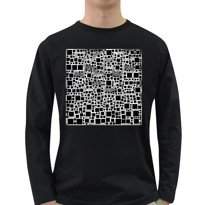 Block On Block, B&w Long Sleeve Dark T-Shirts