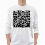 Block On Block, B&w White Long Sleeve T-Shirts Front
