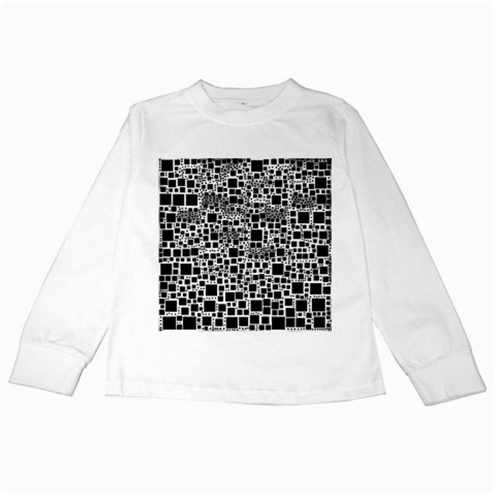 Block On Block, B&w Kids Long Sleeve T-Shirts