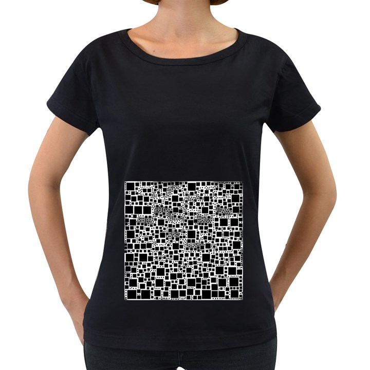 Block On Block, B&w Women s Loose-Fit T-Shirt (Black)