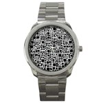 Block On Block, B&w Sport Metal Watch Front