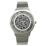Block On Block, B&w Stainless Steel Watch Front