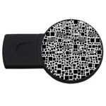 Block On Block, B&w USB Flash Drive Round (4 GB)  Front