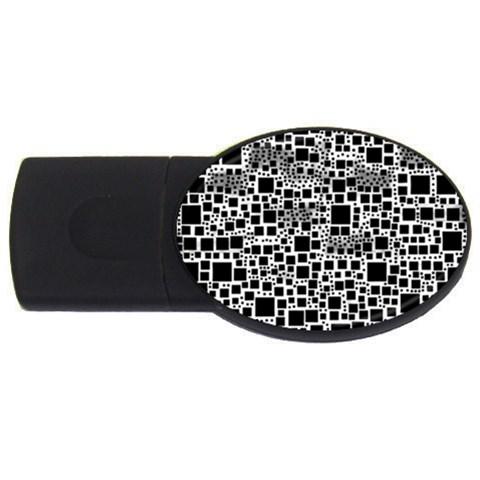 Block On Block, B&w USB Flash Drive Oval (4 GB)