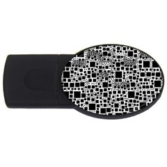 Block On Block, B&w USB Flash Drive Oval (4 GB)